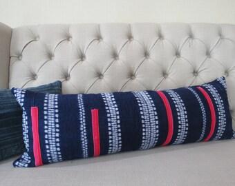 12x35, Pillow case, Vintage Hmong Batik Hemp cushion cover, Handwoven Hemp Fabric,Scatter cushions,