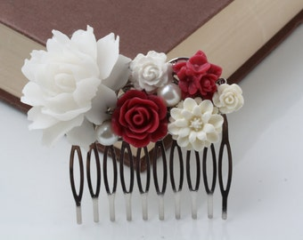 White and Burgundy Hair Comb, Burgundy Wedding Hair Comb, wedding headpiece, Burgundy hair accessories, Bridesmaid gift, Maid of Honor Gift