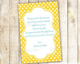 Yellow Polka Dots Thank You Note, Girl Birthday Party Greeting Card, Baby Girl Shower, Bridal Shower, Printable Personalized Any Event