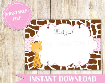 Giraffe Thank You Card Giraffe Baby Shower Giraffe Birthday Party Baby Girl Spinkle Thank You Notes Printable File INSTANT DOWNLOAD