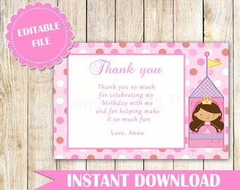 Princess Thank You Card Princess Thank You Note Princess Message Card Birthday Thank You Princess Birthday Baby Girl Shower INSTANT DOWNLOAD