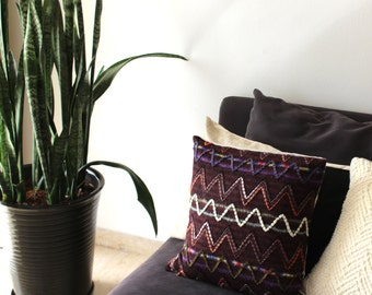 Decorative pillow: marsala wool pillow in tribal zig zags, chevron pillow, modern home decor, burgundy pillow