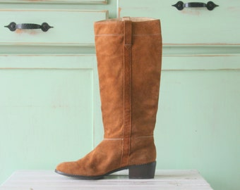 Designer SUEDE BOOTS..size 6.5 womens..leather boots. urban. hipster. boho. brown boots. retro. indie. riding boots. tall boots. knee