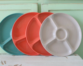 Vintage COLORFUL Plates Set...vintage home. set. pink. green. yellow. 1970s. picnic. home decor. gift. plastic plates. 1960s 70s. stackable