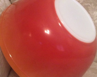 Bright Pyrex Flame Orange And Red Fade Milk Glass Bowl. Serving bowl. Party Serving Bowl Salad Bowl Nesting Bowl. 403