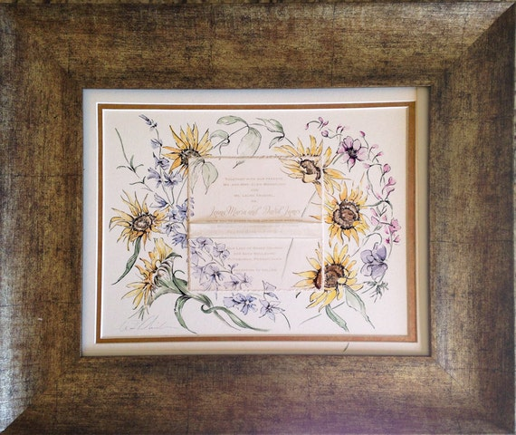 Framed Wedding Painting featuring the Invitation, 11x14 Framed, Wedding Gift Idea, Invitation Keepsake, Art with Invitation, Custom Gift