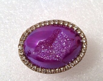 FALL SALE Amazing Titanium Purple druzy sterling silver ring