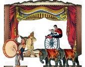 Printable Vintage Circus big Top show  3 collage sheets to create your paper theatre