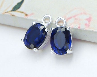 2 of  Lab grown Sapphire  & Sterling Silver Charms 6x8 mm.  :tm0148