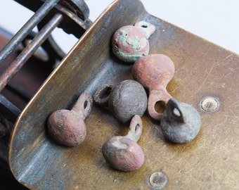 Set of 6 Antique miniature metal charms, buttons, dark patina (n50)