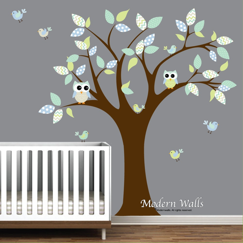 Children owl wall decalsnursery decal nursery tree with owls and children owl wall decalsnursery decal nursery tree with owls and birds e71 amipublicfo Image collections