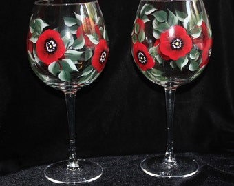 Hand Painted Wine Glasses, Red Poppy