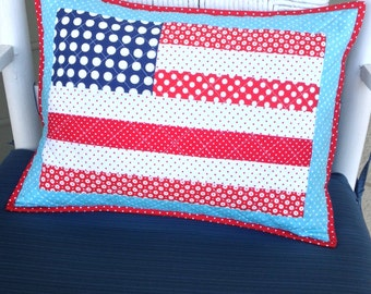 American Flag Patriotic Throw Pillow - includes pillow cover and insert