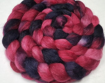 Polwarth/Yearling Mohair/Silk Roving - 65/25/10 - 4 oz - Hand Dyed - Raspberry and Navy Blue