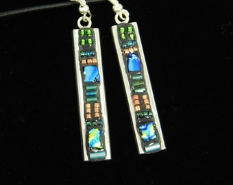Deco Style Channel Earring in Green, Blue and Copper