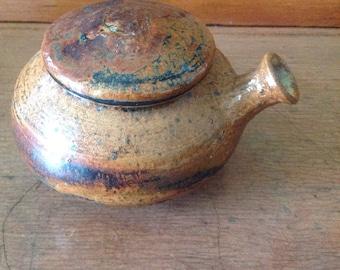 Vintage Ceramic Studio Art Pottery Soy Sauce Bottle /  Vessel