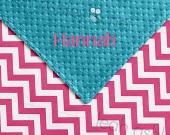 Baby Blanket - Hot Pink Chevron COTTON, Turquoise MINKY Dot - Ella - BB2