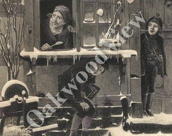 Young Rogues Engraving, Boys Child Children, Mischief, Old Woman, Snowballs, Antique 1879 5x9 Black & White Art, FREE SHIPPING