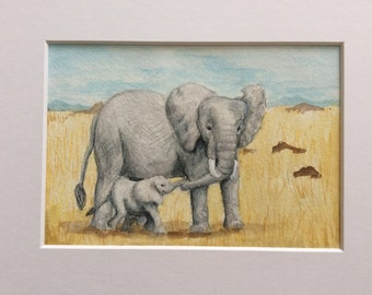 Original watercolor 5x7 matted to 8x10, African elephant, mom with baby, African Savannah,