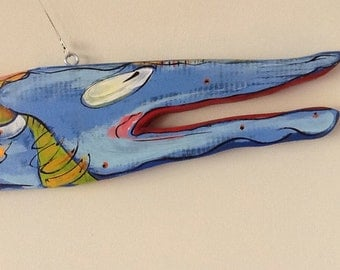 """Blue Fish recycled wood sculpture 37""""x5.5""""x1"""""""