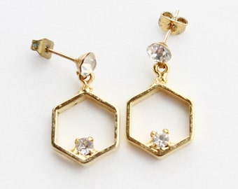 Vintage Gold Tone Clear Crystal Glass Rhinestone Goldtone Geometric Hexagon Pierced Dangle Earrings