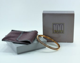 Vintage 1986 Sarah Jones of Trifari for Avon Centennial Size SMALL 18KT Gold Plate Austrian Crystal Hinged Bangle Bracelet Original Box NIB
