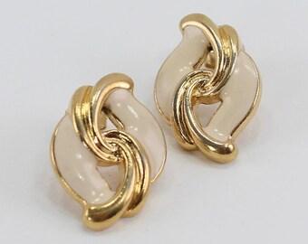 SALE 30 PERCENT Off Vintage 1989 Signed Avon Key Biscayne Gold Tone Ivory Enamel Swirl Curved Loop Pierced Earrings in Original Box NIB