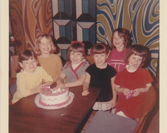 1960's Young birthday party girls vintage photo.Cute.