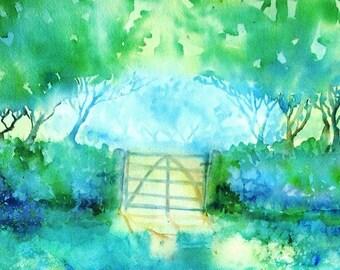 Sunshine After the Harvest , Ireland - Original landscape in Watercolour, Irish art