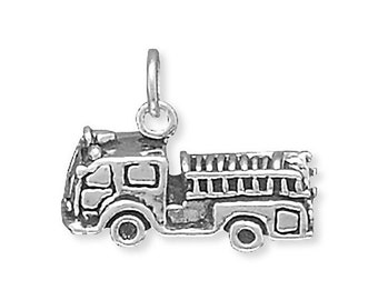 Fire Truck Fire Engine 3d Charm Pendant Sterling Silver 925