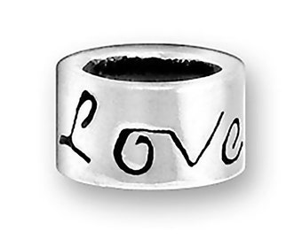 SALE Sterling Silver Love Bead Charm Marked 50% off Regular Price