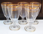 Vintage Cambridge Glass Etched Water Glasses Crystal Iced Tea Stemware Gold Encrusted Set of 5