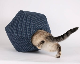 Cat Ball in navy and teal cotton fabrics  - Hexagonal modern pet bed and kitty furniture that is made in the USA