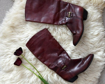 Leather Boots Women Vintage Reddish Brown Winter Boots Size US 9 EU 40