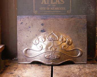 Vintage Art Nouveau Heating Vent Cover - Metal Fireplace Cover - Architectural Salvage