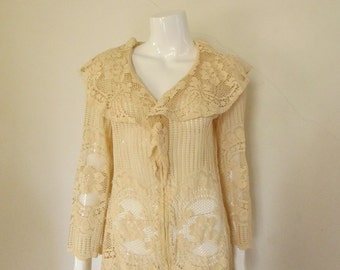 60's Vintage Crochet Lace Jacket Swim Mini Dress med.