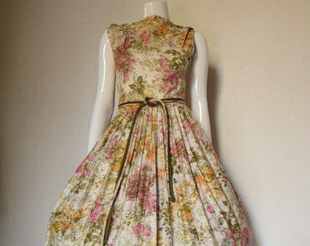50's Vintage Floral Print Cotton Party Dress