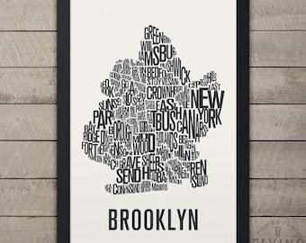 BROOKLYN New York Neighborhood Typography City Map Print