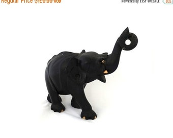 ON SALE Antique large Victorian hand carved ebony wood elephant figurine, bull elephant