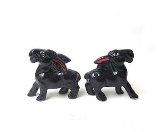 ON SALE Vintage mid century Japanese porcelain donkey figurines
