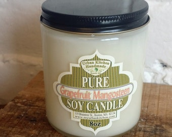 Grapefruit Mangosteen - 8 oz., Soy Candle, Glass Candle, candle wick, Gift