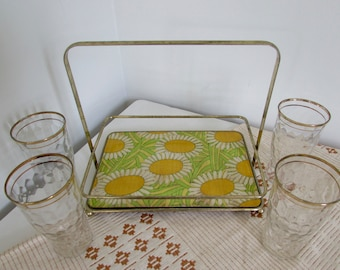 Mid Century Modern Cocktail Party Drink Caddy with Gold Rim Glasses