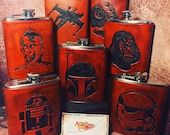 Leather StarWars Flasks - Hand Cut & Tooled Leather 8oz/6oz Hip Flask - MADE TO ORDER 20 Designs to Choose From Custom Work Also Available