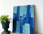 SALE Original Painting, Affordable Artwork, Cobalt Blue Wall Hanging, Cerulean Wall Art, Canvas Art, Blue Office Decor, Modern Artwork