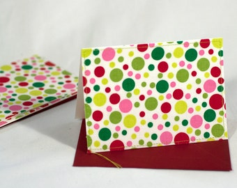 Fabric Fold-Over Card, Blank Notecard, Any Occasion Card, Small Thank You Card, Festive Dot Greeting Card, set of 4 cards: Festive Dot