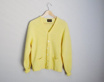 Vintage 60s Yellow Wool Cardigan Sweater / Grandpa Cardigan - mens small