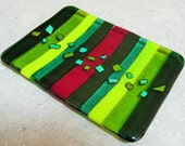 Christmas Fused Glass Plate in Green, Red and Gold Stripes, with Geometric Dichroic Glass Jewels.