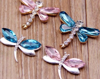 2pcs rhinestones/gem alloy dragonfly kawaii cabochon flatback mix colors