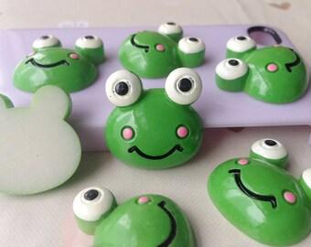 5pcs diy cartoon big eye green frog resin cabochon 25mm flatback