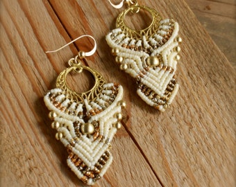 macrame earrings, makrame earrings, bridal earrings, cream and gold,  fairytale elf earrings cream and gold, large tribal dangle earrings